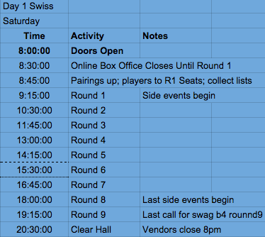 TCG Swiss Schedule Saturday